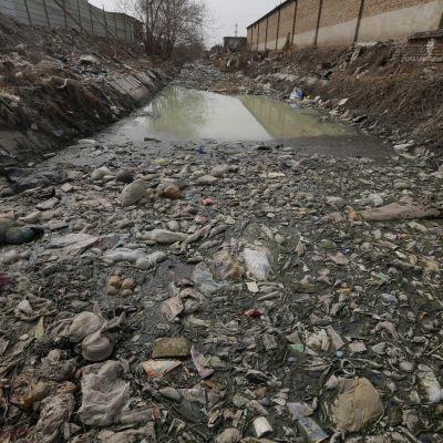 Plastavfall i en flod i Beijing i Kina.