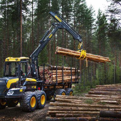 En traktor som lyfter träd i skogen.
