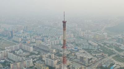Huvudstaden i Sacharegionen Jakutsk är täckt av rök.