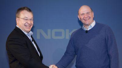 Nokias vd Stephen Elop och Microsofts vd Steve Ballmer presenterade samarbetet i London i februari