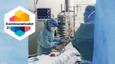 Bild där läkare och vårdpersonal i skyddsdräkt sköter om en patient.