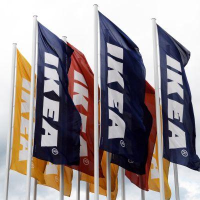 Flaggor utanför Ikeavaruhus.