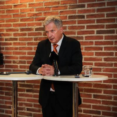 Tasavallan presidentti Sauli Niinistö puhui yrittäjäpäivillä Jyväskylässä 25. syyskuuta.