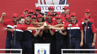 USA:s Ryder Cup-lag firar seger.