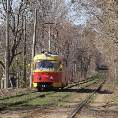 Spårvagnslinje 12 i Kiev går genom skog