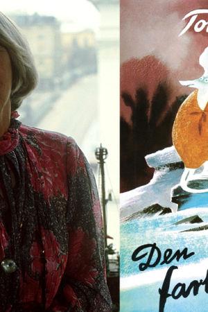 Tove Jansson och bokpärmen till Den farliga resan