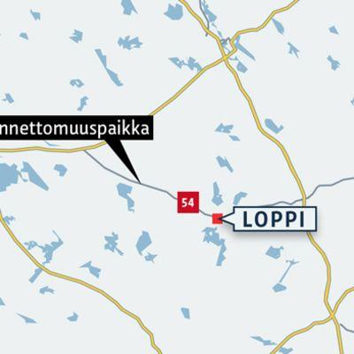 Kartta onnettomuuspaikasta