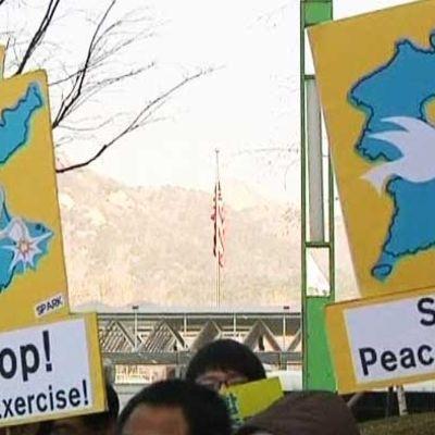 Övningen väcker protester i Sydkorea