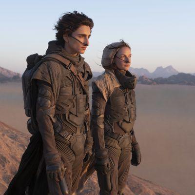 Timothée Chalamet och Rebecca Ferguson blickar ut över ett ökenlandskap.