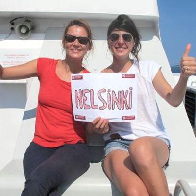 Ranskalaiset Sandra Reinflet ja Aurélie Streiff liftasivat heinäkuussa Ateenasta Helsinkiin.