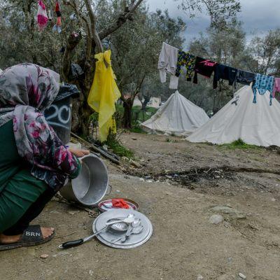 I flyktinglägret i Moria på Lesbos.