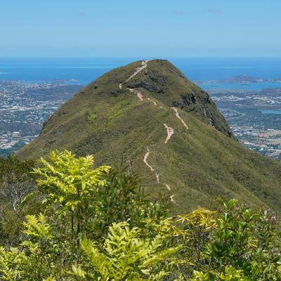 Bergstoppen Malaoui i Nya Kaledonien. Stilla Oceanen och huvudstaden Nouméa i bakgrunden