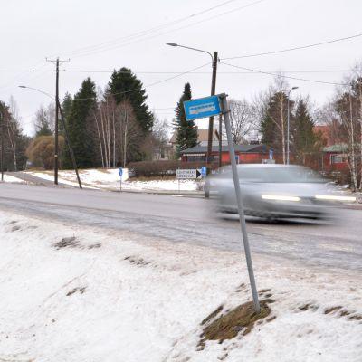 Korsningen Tolkisvägen-Trappasvägen i Borgå