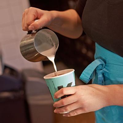 maitoa kaadetaan kahviin, kahvilatyöntekijä