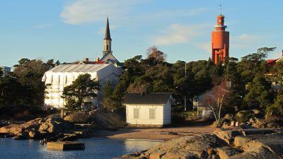 Kyrkan, mareografen och vattentornet i Hangö