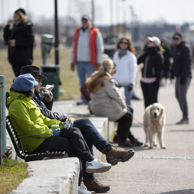Personer är ute och går och jobbar i Brunnsparken i Helsingfors. Ett äldre par sitter på en bänk.
