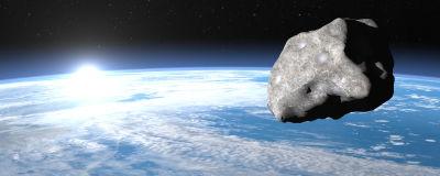 Meteor eller meteorit som närmar sig jorden.