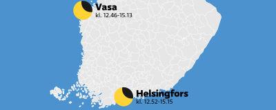 En karta som visar när solförmörkelsen pågår i Vasa och Helsingfors.