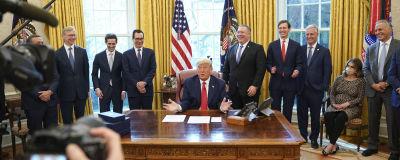 USA president Donald Trump under en presskonferens.