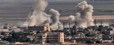 Rök stiger från staden Ras al-Ain i Syrien.