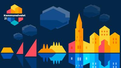 En grafisk bild med nyanser i blått och orange med bild av segel, öar, träd åbo domkyrka och åbo slott.