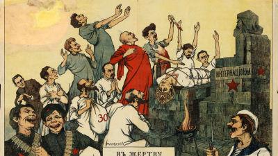 Belarussisk poster från 1918 eller 1919 där bland annat Lenin och Trotskij offrar Ryssland åt Marx