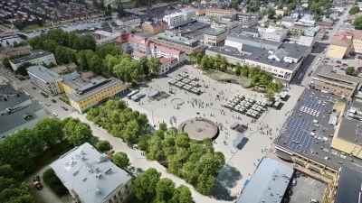Framtidsvision av Borgå torg, sett från luften