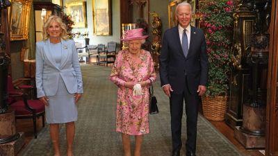 Jill Biden, drottning Elisabeth och Joe Biden på Windsor Castle 13.6.2020