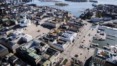 Flygfotografi av Senatstorget maj 2020.