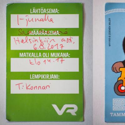 """""""Barnbiljett"""" som tågresenäre Aino Jauhiainen fick av en VR-anställd på Hoplax tågstation, där biljettautomaten var sönder."""