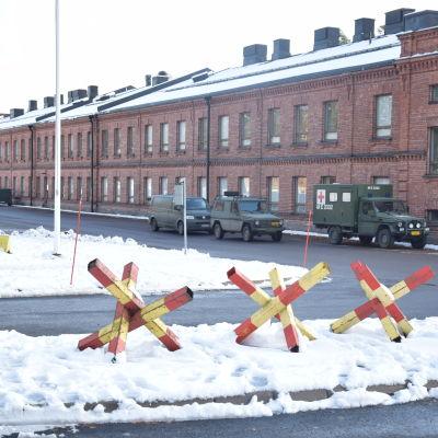 Kasernbyggnad på Nylands Brigad.