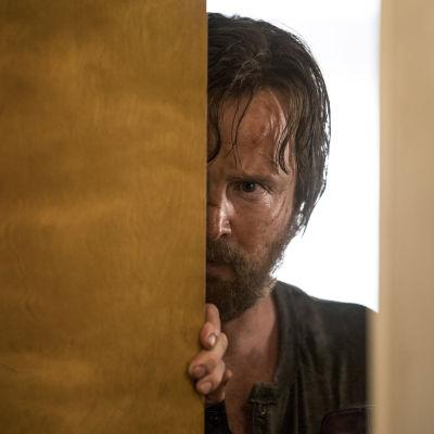En smutsig och ärrad Jesse Pinkman (spelad av Aaron Paul) kikar fram bakom en dörr.