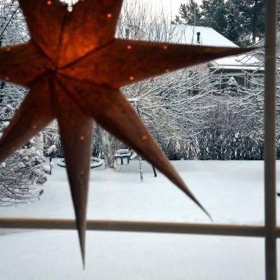 joulutähti ikkunassa, pihalla lunta
