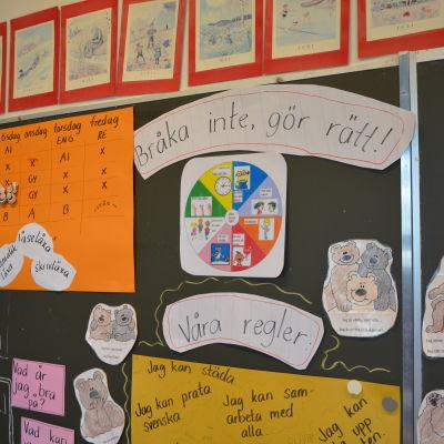 Väggen i ett klassrum på Vaasan keskuskoulu.