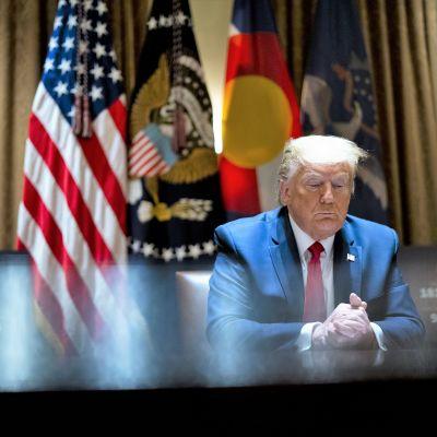 Trump istuu pöydän ääressä ja puristaa käsiään yhteen katsoen alaviistoon. Taustalla näkyy Yhdysvaltain lippu ja muita lippuja. Kuvan vasemmassa reunassa näkyy tietokoneen ruutu, jossa on teksti Pohjois-Dakota ja joitakin lukuja.