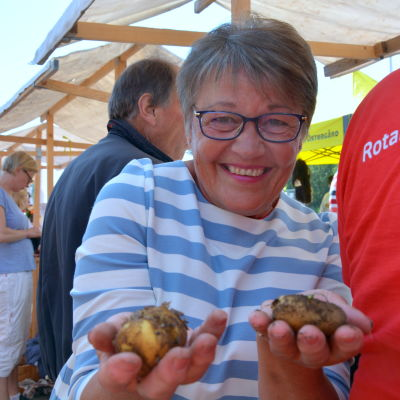 annemo palmroos-broos håller i fyra små nypotatisar i händerna och ler mot kameran. i bakgrunden syns stånd från potatisfestivalen.
