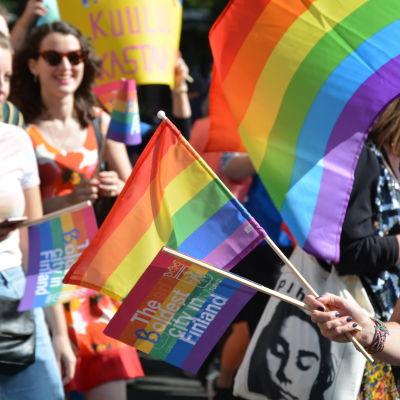 Flera regnbågsflaggor på en pridemarsch.