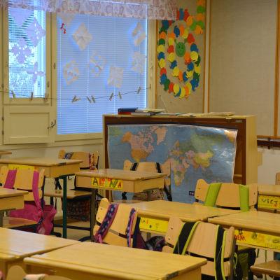 Ett klassrum i Söderkulla skola.