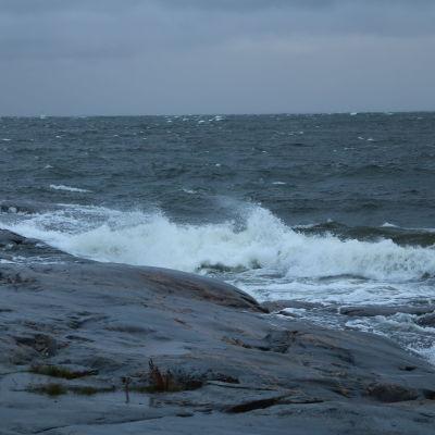 Vågor slår mot klippor.