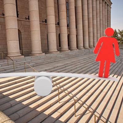 En grafisk bild av en kvinna och en man som står på en gungbräda på riksdagashustrappan.