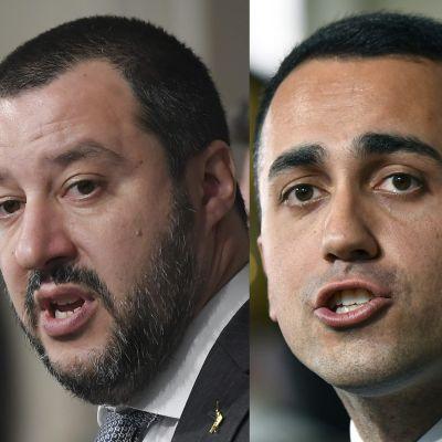 Ledaren för Lega, Matteo Salvini (till vänster) och Femstjärnerörelsens ledare Luigi Di Maio.