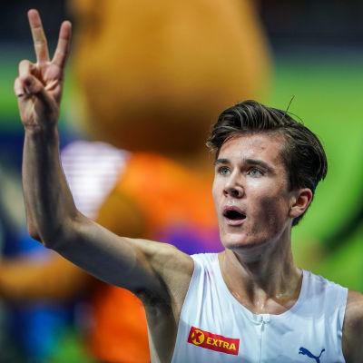 Jakob Ingebrigtsen firar, EM 2018.