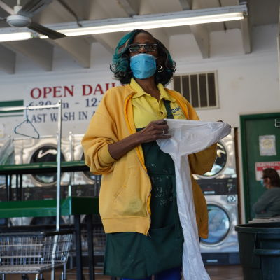 Tvättföretagaren Cathie Ewing i Cleveland, Ohio.
