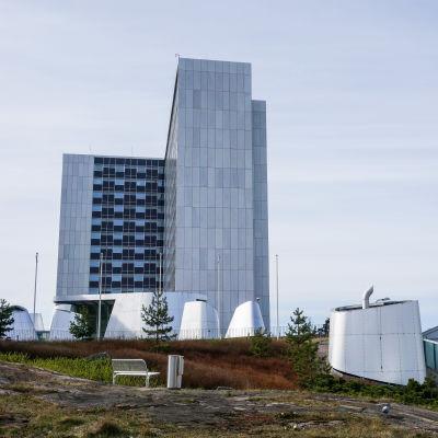 Vid bild på Mejlans tornsjukhus.