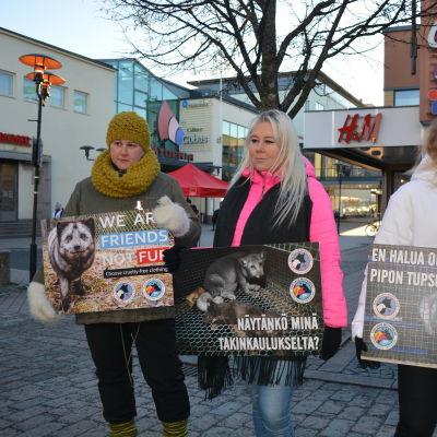 Demonstration mot pälsdjurshållning i Karleby