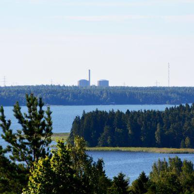 Vy från Kuckostenen mot Hästholmens kärnkraftverk.