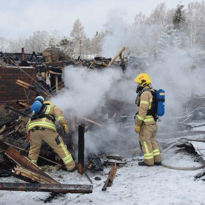 Eftersläckning på Gumnäsvägen 8 i Pojo.