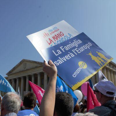 Familjen ska rädda Europa det menar demonstranterna i familjemarschen som avslutar kongressen