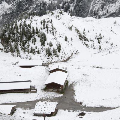 Snöfall i Tyrolen i augusti