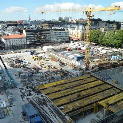 Turun toriparkin työmaa 7.8.2020